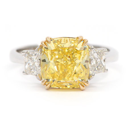 fancy yellow ring 014001 colored diamonds