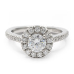 Platinum Halo Engagement Ring with 3/4 Carat Round Diamond