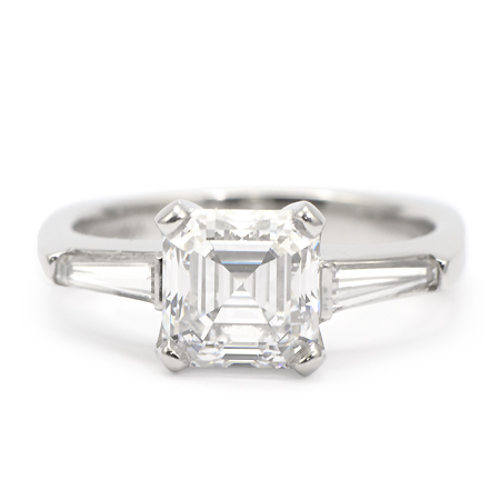 Asscher Cut Diamond Engagement Rings With Baguettes