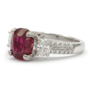 Burma Ruby Gemstone Ring with Oval and Round Diamonds Set in Platinum
