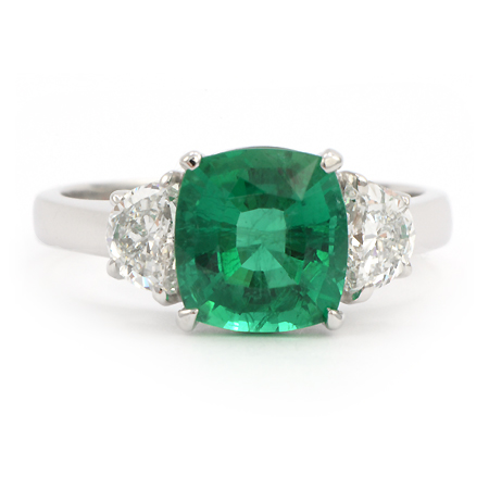 cushion cut emerald ring 040744 gemstone jewelry