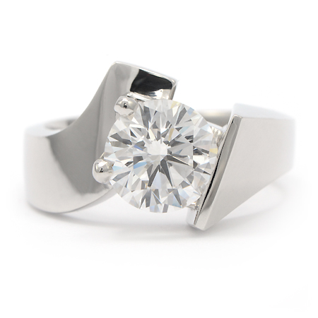 contemporary engagement ring in white gold wixon jewelers