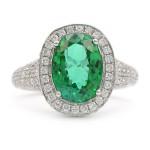 Paraiba Tourmaline Green Gemstone Ring set in White Gold and Pave Diamonds