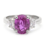 Pink Sapphire Ring with Half Moon Diamonds in Platinum