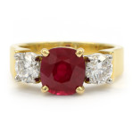 Cushion Cut Ruby Gemstone and Diamond Ring in Platinum and Yellow Gold