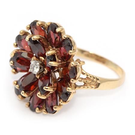 Retro Flower Garnet Ring 62709 Vintage Jewelry Mn