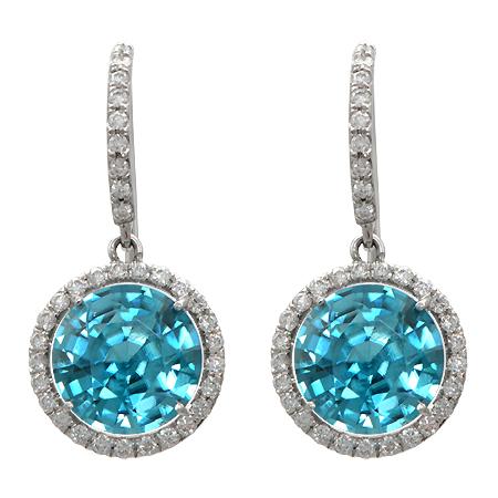 Blue Zircon Diamond Earrings
