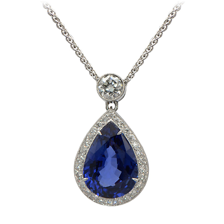10 Carat Blue Sapphire Amp Diamond Pendant Minnesota