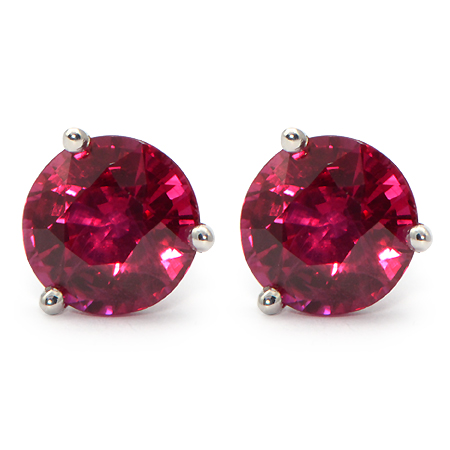 Burma Ruby Stud Earrings W Vivid Red Color Wixon Jewelers