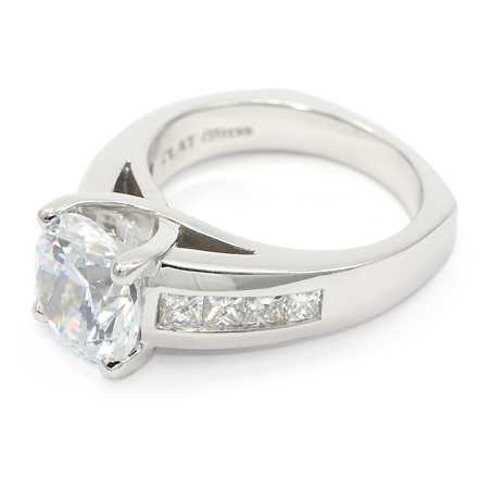 Cathedral Mounted Engagement Ring With Squared Base