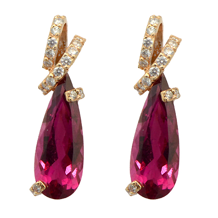 Pear Shaped Rubellite Earrings Custom Jewelry Wixon