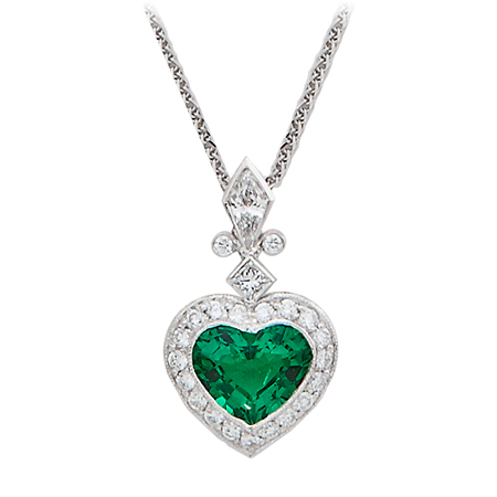 heart stone watches n diamond piece shaped an neck pin in emerald
