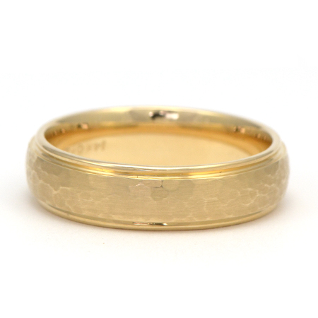 Hammered Yellow Gold Mens Wedding Ring Wixon Jewelers