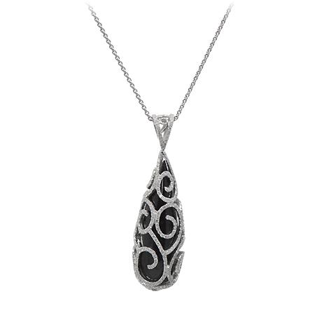 Black onyx diamond pendant fashion jewelry wixon jewelers black onyx diamond pendant aloadofball Choice Image