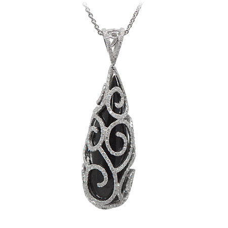 Black Onyx & Diamond Fashion Pendant
