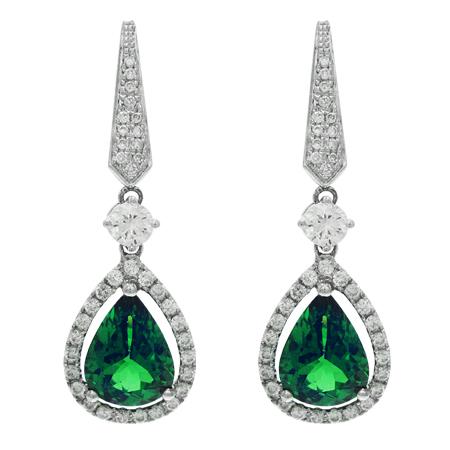 Tsavorite Garnet Diamond Earrings