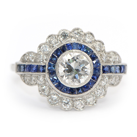 Vintage Sapphire Amp Diamond Ring Art Deco Wixon Jewelers