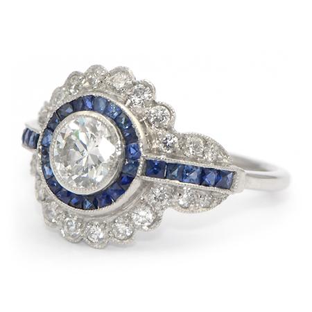 Attractive Vintage Sapphire & Diamond Ring (Art Deco)   Wixon Jewelers JG06