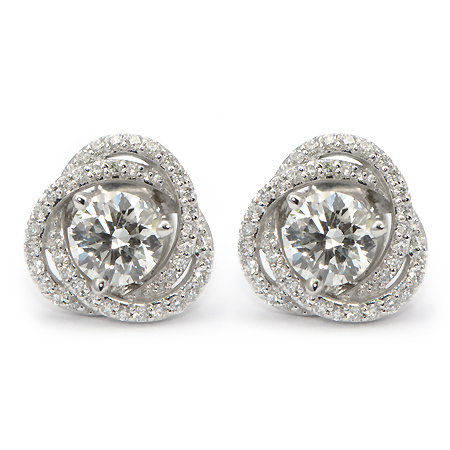Diamond Stud Earring Jackets  Spiral Pave | Wixon Jewelers