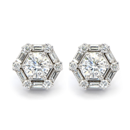 Round Diamond Stud Earrings with baguettes
