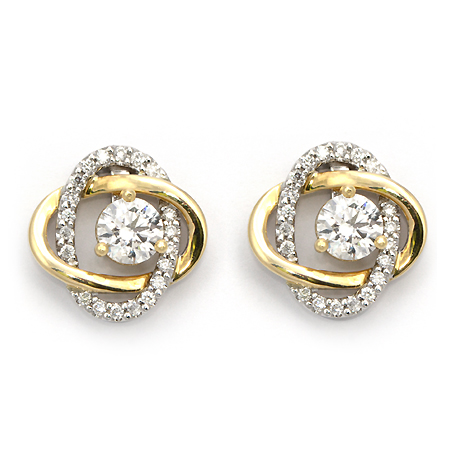 diamond yellow gold prong stud earrings