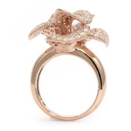 Pave Diamond Flower Ring In Rose Gold Wixon Jewelers