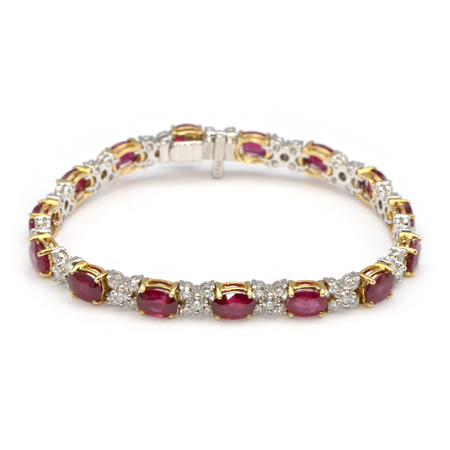 bracelet black carats gold in tennis ruby red
