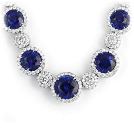 Royal Blue Sapphire & Diamond Halo Necklace | Wixon Jewelers