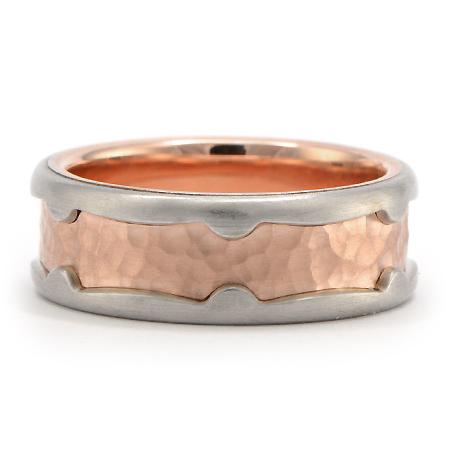 Rose Gold Hammered Mens Wedding Ring
