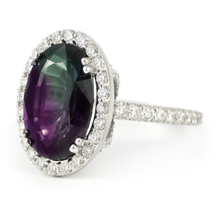 Large Oval Alexandrite Ring With Diamond Halo Wixon Jewelers
