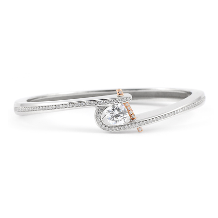 Diamond Oval Bangle Bracelet By Claude Thibaudeau Wixon
