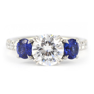 Round Blue Sapphire & Diamond Engagement Ring