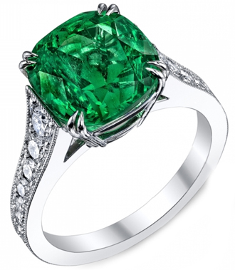 Emerald Gemstone Ring with Diamonds