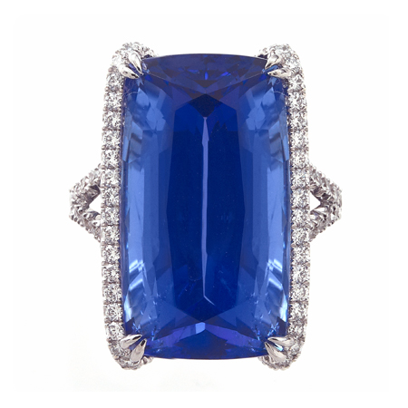 emerald diamond and cut tanzanite pendant