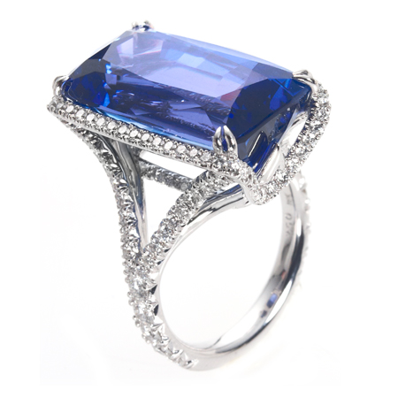 Emerald Cut Tanzanite Ring With Diamond Halo Wixon Jewelers