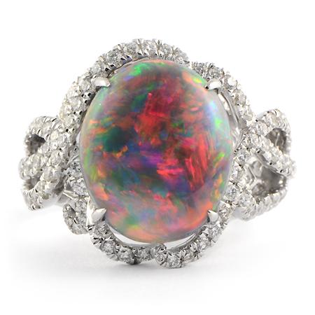 Lightning Ridge Black Opal Ring White Gold Wixon Jewelers