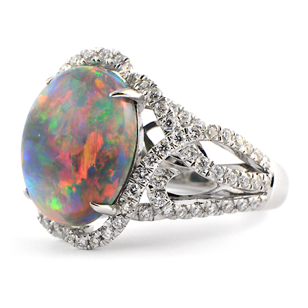 lightning ridge black opal ring - Black Opal Wedding Rings