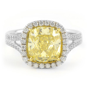 Cushion Cut Fancy Yellow Diamond Engagement Ring
