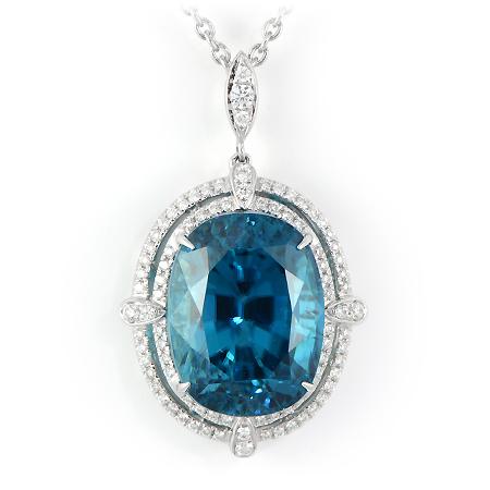 Oval Blue Zircon Pendant With Diamond Halo Wixon Jewelers