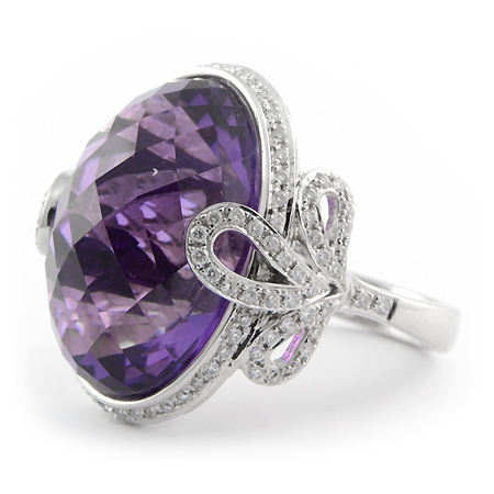 Amethyst Cocktail Ring Checkerboard Cut Wixon Jewelers