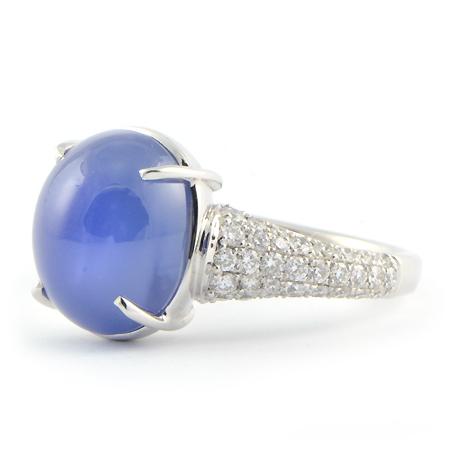 Cornflower Blue Sapphire Ring Cabochon Cut Wixon Jewelers