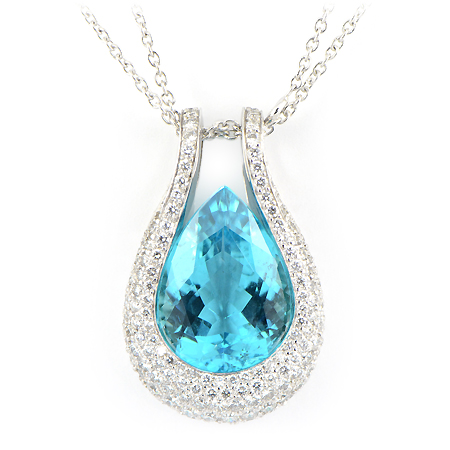 Custom Paraiba Tourmaline Amp Diamond Pendant Wixon Jewelers