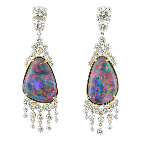 Black Opal Earrings With Diamond Dangles Custom Wixon