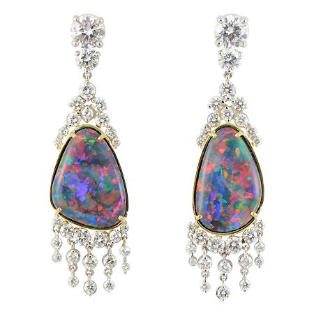 Black Opal Earrings With Diamond Dangles Custom Wixon