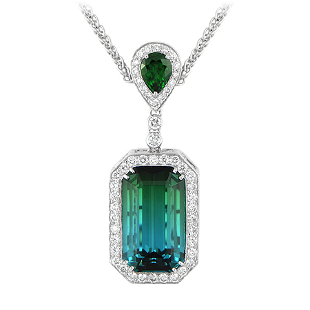 Bi Color Tourmaline Pendant Blue Amp Green Wixon Jewelers