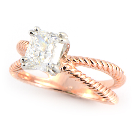 Braided Rope Engagement Ring In Rose Gold Wixon Jewelers