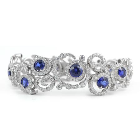 Vivid Blue Sapphire Amp Diamond Bracelet In Platinum Wixon