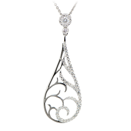 Two tone diamond pendant 18k white gold and blackened metal teardrop diamond dangle pendant mozeypictures Images