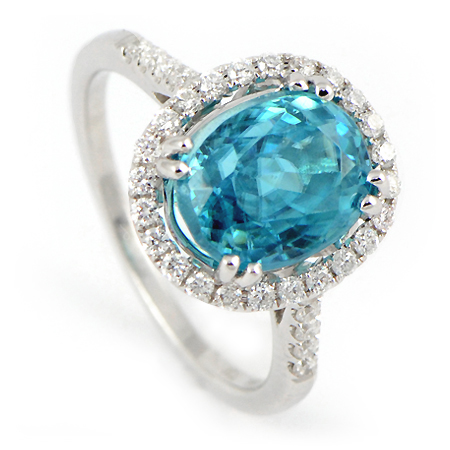 Blue Zircon Ring With Diamond Halo In White Gold Wixon Com
