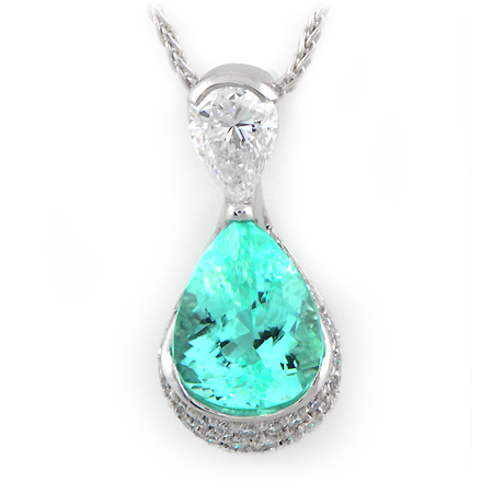 Paraiba Tourmaline Pendant Pear Shaped Custom Design